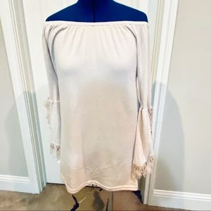 WinWin boho chic tunic dress off shoulder beige